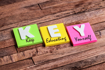 post-it acronym : KEY (keep educating yourself)