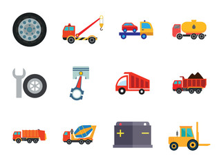 Automotive icons set with car wheel, crane truck and fork lift truck. Thirteen vector icons