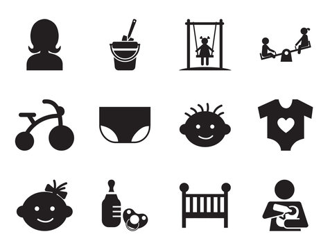 Baby simple icons set with teddy bear, bicycle and baby bed. Thirteen vector icons