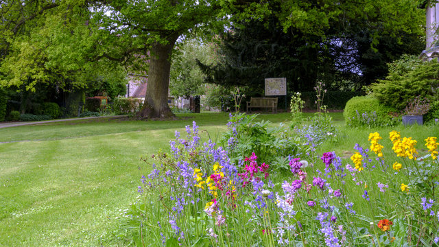 View towards St Mary's Church across the wild flower beds and lawn of the Pleistor House in Selborne, Hampshire, UK