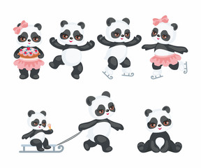 Cute Pandas in a cartoon style. Children vector illustrations set on white background.