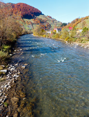 Poster Lavendel Autumn Carpathian mountain river (Ukraine).