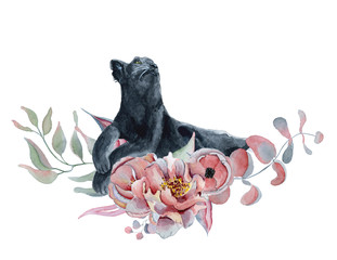 Watercolor composition with black wiled panther and flowers peonies , anemone