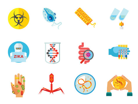 Bacteria icons set with biohazard sign, genome and bacteria in Petri dish. Thirteen vector icons