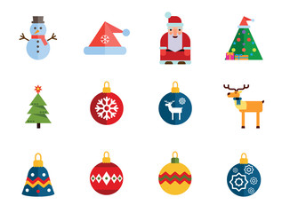 Christmas Icon Set. Decorated Tree Santa Claus Snowman Santa Hat Reindeer Christmas Ball Fir Tree Bauble With Reindeer Ball With Stars Bauble With Snowflake Bell Wreath Ball With Ornament