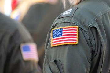 American flag patch on a pilots uniform