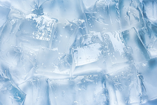 ice cubes background, blue color, cold