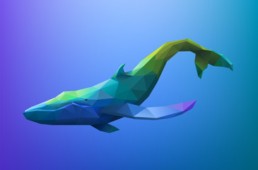 Low poly blue whale, eps10 vector
