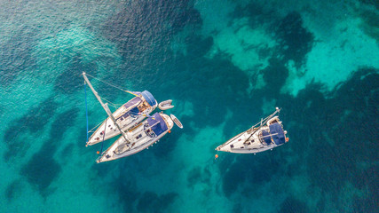 Aerial view of sailling boats