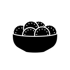 Biscuits or sweets on a plate vector icon. iso ated on a white background. Illustration on a flat design style. Image suitable for cafe, bar, coffeine,