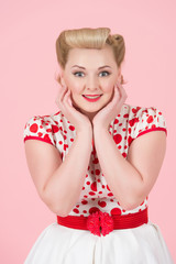 Elegant girl portrait with classic pin-up make up. Young woman with surprised excited happy screaming. Cheerful girl with funny joyful face expression isolated on pink background.