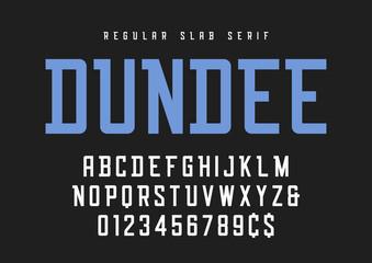 Dundee regular slab serif font, typeface, alphabet.
