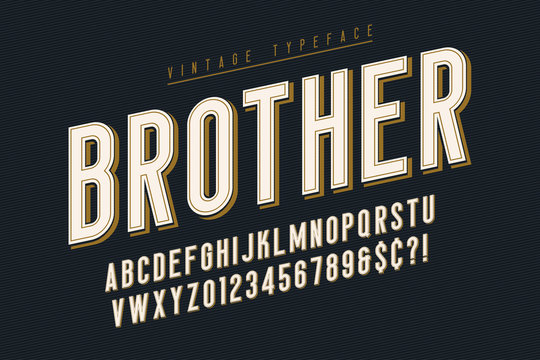 Trendy vintage display font design, alphabet, typeface