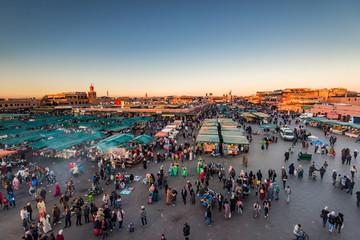 Jamaa El Fna famous market square,Marrakesh,Morocco