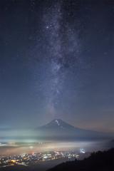 Mountain Fuji and Milkyway in summer season