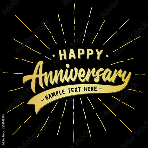 happy anniversary lettering design vector and illustration