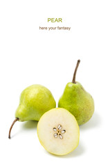 Pears on white background.Healthy fruit.