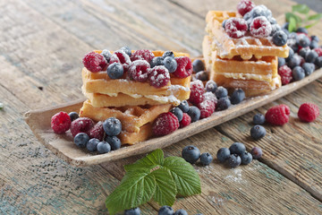Waffles with raspberry and blueberry