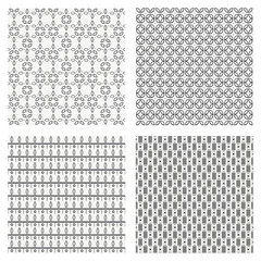 Set of 4 black and white Scandinavian trend seamless pattern - black stripes, polka dots  background, retro black and white texture. Vector hand-drawing graphics for textile, wallpaper or web page.