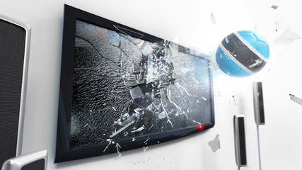 Soccer ball with the flag of Botswana kicked through a shattering tv screen.(3D rendering series)