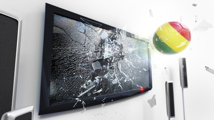 Soccer ball with the flag of Bolivia kicked through a shattering tv screen.(3D rendering series)