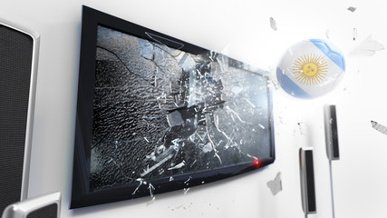 Soccer ball with the flag of Argentina kicked through a shattering tv screen.(3D rendering series)