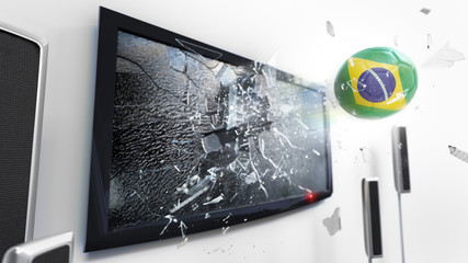 Soccer ball with the flag of Brazil kicked through a shattering tv screen.(3D rendering series)