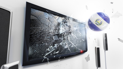 Soccer ball with the flag of El Salvador kicked through a shattering tv screen.(3D rendering series)