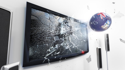 Soccer ball with the flag of Falkland Islands kicked through a shattering tv screen.(3D rendering series)
