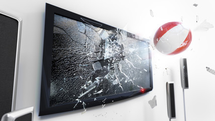 Soccer ball with the flag of Peru kicked through a shattering tv screen.(3D rendering series)