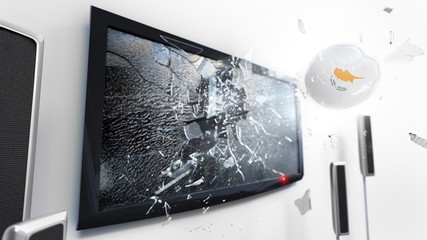 Soccer ball with the flag of Cyprus kicked through a shattering tv screen.(3D rendering series)