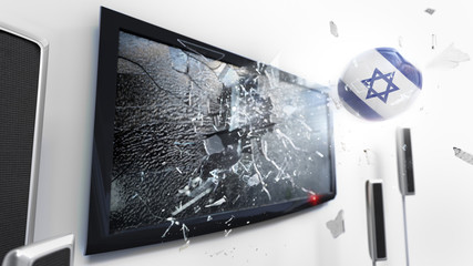 Soccer ball with the flag of Israel kicked through a shattering tv screen.(3D rendering series)