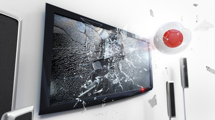 Soccer ball with the flag of Japan kicked through a shattering tv screen.(3D rendering series)