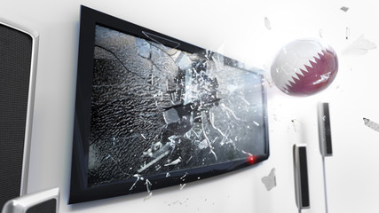 Soccer ball with the flag of Qatar kicked through a shattering tv screen.(3D rendering series)