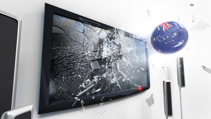 Soccer ball with the flag of Victoria kicked through a shattering tv screen.(3D rendering series)
