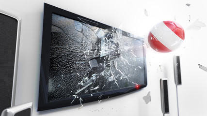 Soccer ball with the flag of Austria kicked through a shattering tv screen.(3D rendering series)