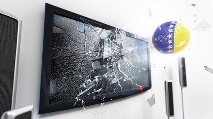 Soccer ball with the flag of Bosnia and Herzegovina kicked through a shattering tv screen.(3D rendering series)