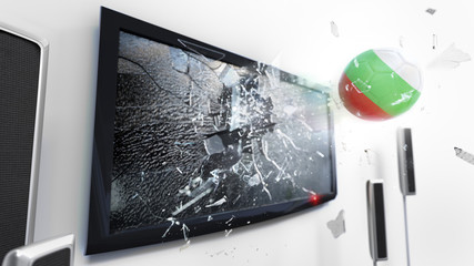 Soccer ball with the flag of Bulgaria kicked through a shattering tv screen.(3D rendering series)