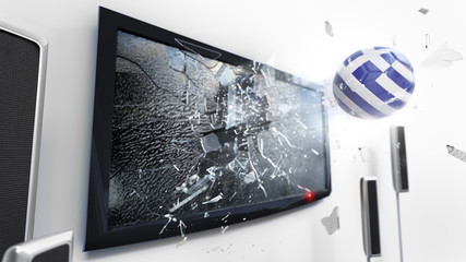 Soccer ball with the flag of Greece kicked through a shattering tv screen.(3D rendering series)