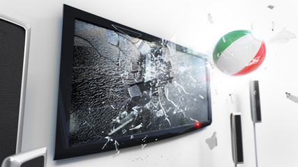 Soccer ball with the flag of Italy kicked through a shattering tv screen.(3D rendering series)
