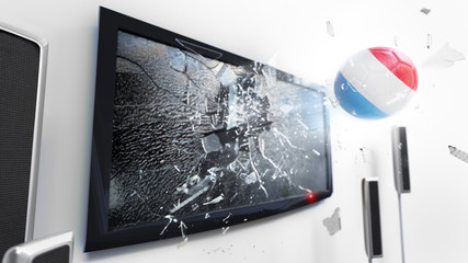 Soccer ball with the flag of Luxembourg kicked through a shattering tv screen.(3D rendering series)