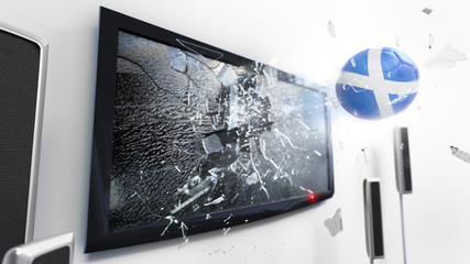 Soccer ball with the flag of Scotland kicked through a shattering tv screen.(3D rendering series)