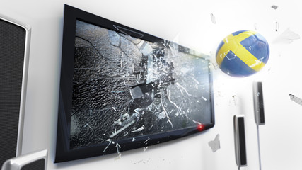 Soccer ball with the flag of Sweden kicked through a shattering tv screen.(3D rendering series)