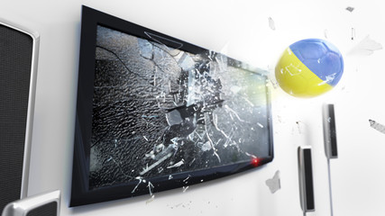 Soccer ball with the flag of Ukraine kicked through a shattering tv screen.(3D rendering series)