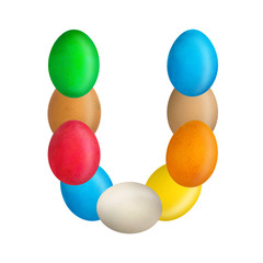 The letter U of the English alphabet is made up of colorful eggs. Isolated. White background. Education