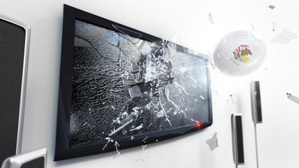 Soccer ball with the flag of Illinois kicked through a shattering tv screen.(3D rendering series)