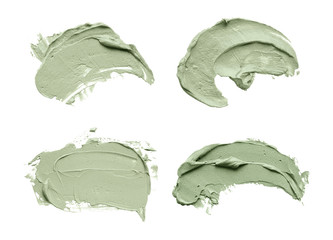 Blue clay facial mask smear on white isolated background Fototapete