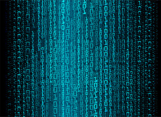 binary circuit board future technology, blue cyber security concept background, abstract hi speed digital internet. motion move blur. pixel vector
