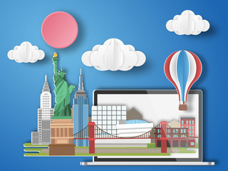 Paper art New york,USA infographic . America cityscape with labtop .