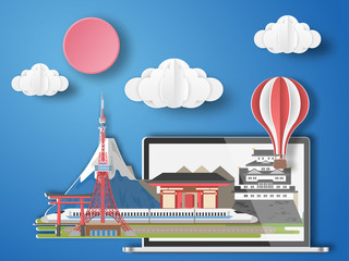 Paper art tokyo,japan infographic . Japan cityscape with labtop .